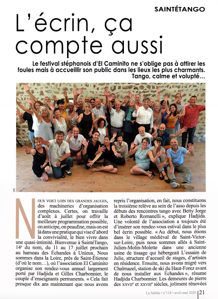 Article de La Salida avril-mai 2020, page 21
