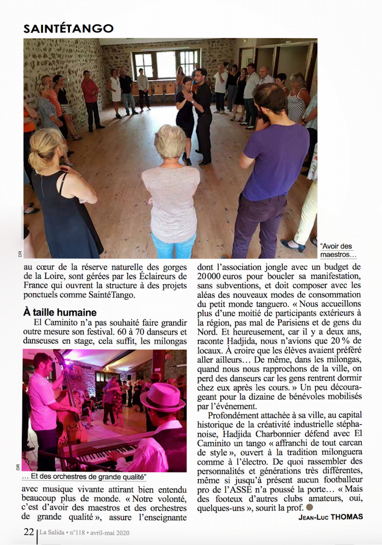 Article de La Salida avril-mai 2020, page 22