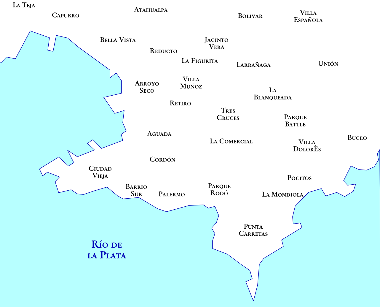 Schéma des quartiers de Montevideo
